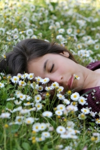 sleeping in flowers